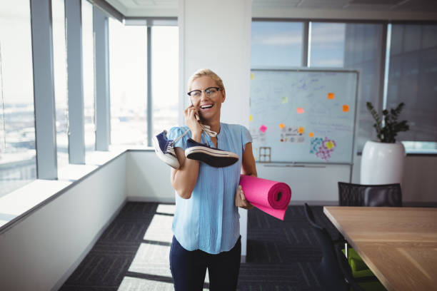 Employee Working Out During Her BReak