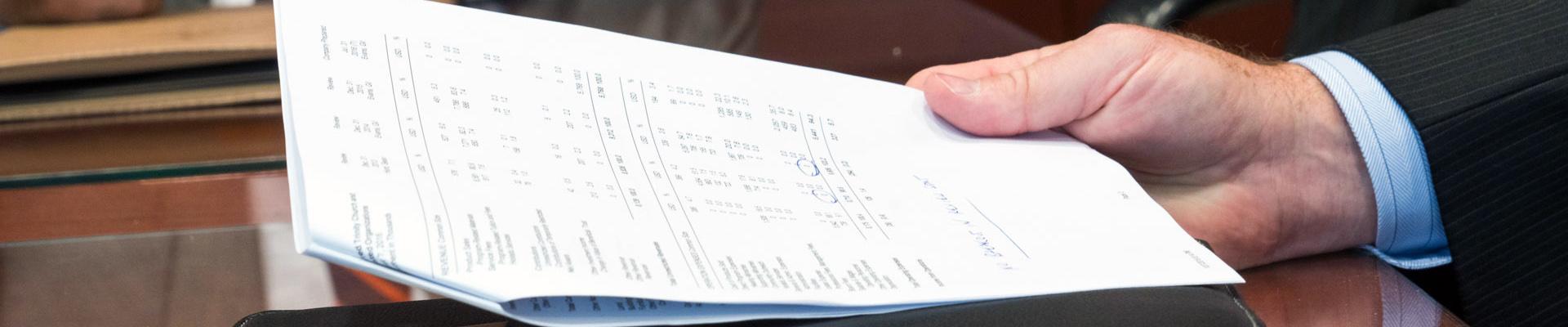 Businessman reviewing company balance sheet